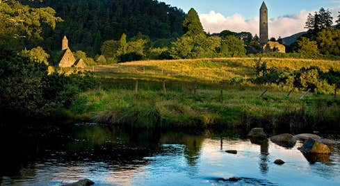 The green forests and blue rivers at Glendalough Monastic Site