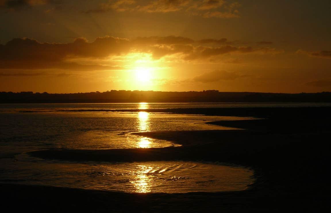 A beautiful golden sunset at Strandhill Beach, Sligo