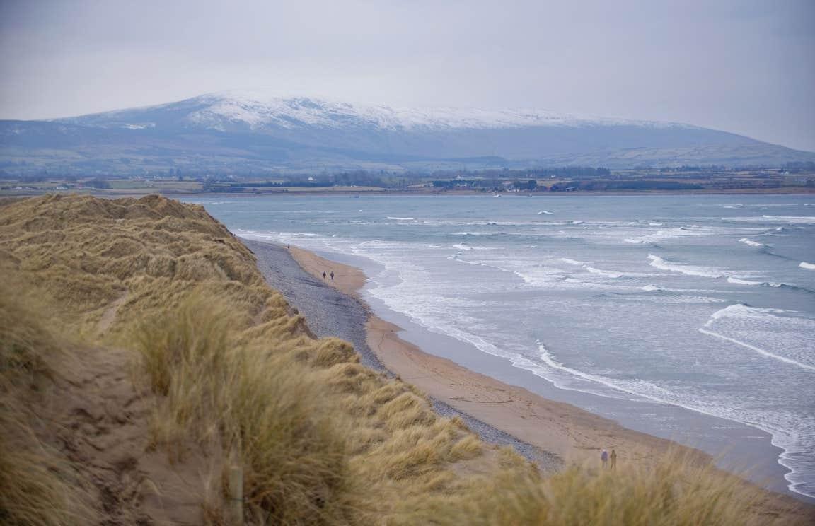 Sand dunes and mountain views at Strandhill Beach in County Sligo