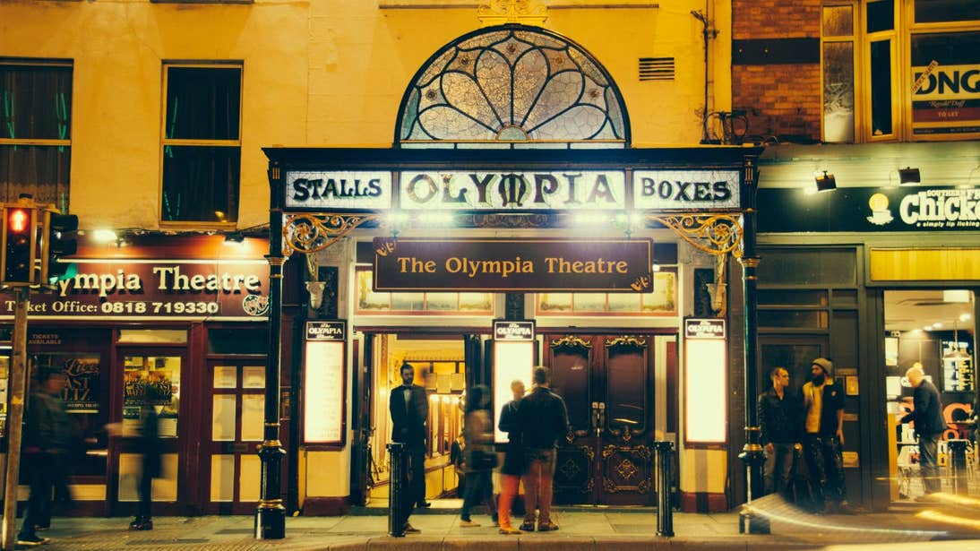 People outside the Olympia Theatre on Dame Street in Dublin