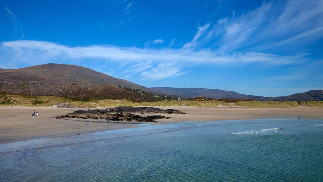 Blue skies and golden sands at Derrynane Beach, Caherdaniel, Co. Kerry