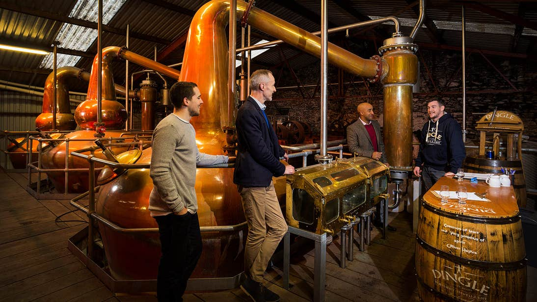 A group on a tour in Dingle Distillery, County Kerry