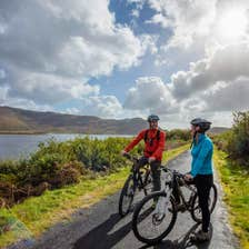 Cyclists on the Great Western Greenway, County Mayo