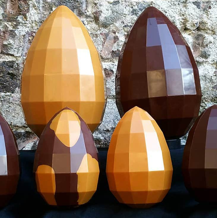 Geodesic chocolate Easter eggs made by Proper Chocolate in Dublin
