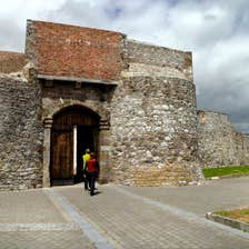 Image of visitors entering Dungarvan Castle, County Waterford