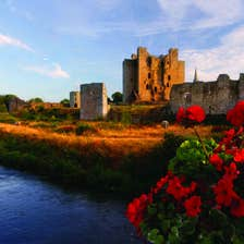 Red flowers and a wide river in front of Trim Castle in County Meath