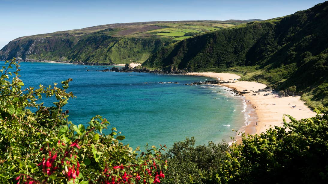 Kinnagoe Bay seen from above on a sunny day in County Donegal