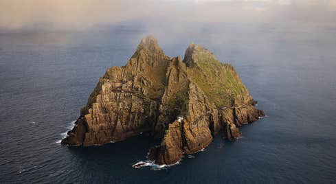 Mist settling on Skellig Michael in County Kerry