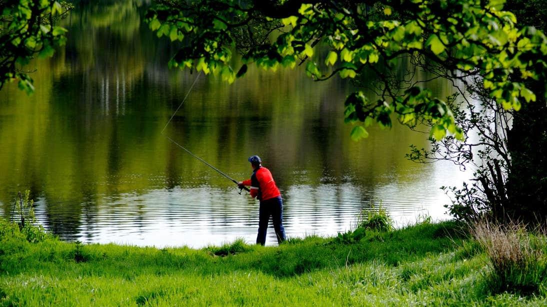 Man fishing at Lough Muckno in Castleblaney, Monaghan