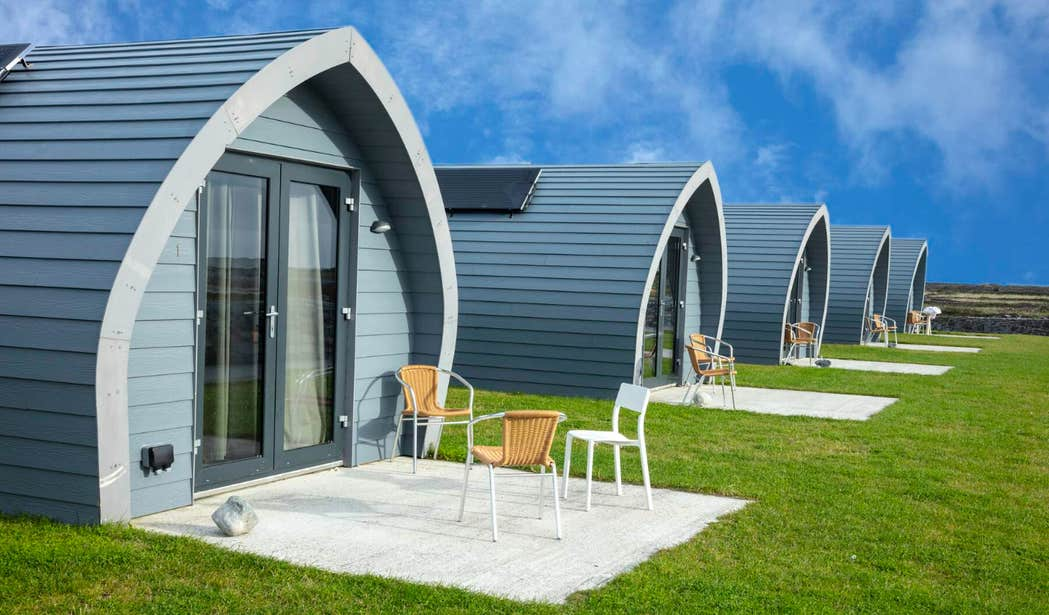 Glamping pods at Aran Islands Camping and Glamping on Inishmore, Galway.