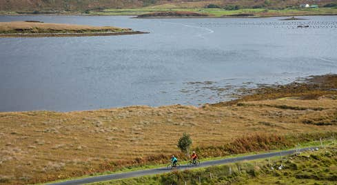 Two cyclists on the Great Western Greenway, County Mayo