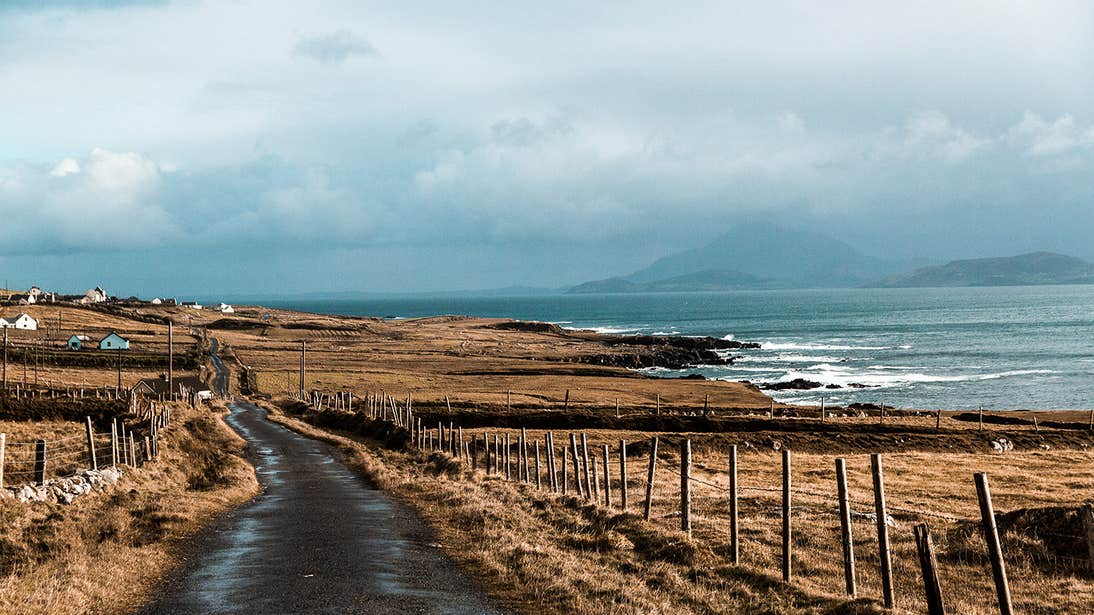 A country lane along the raw coastline of Clare Island in Co. Mayo