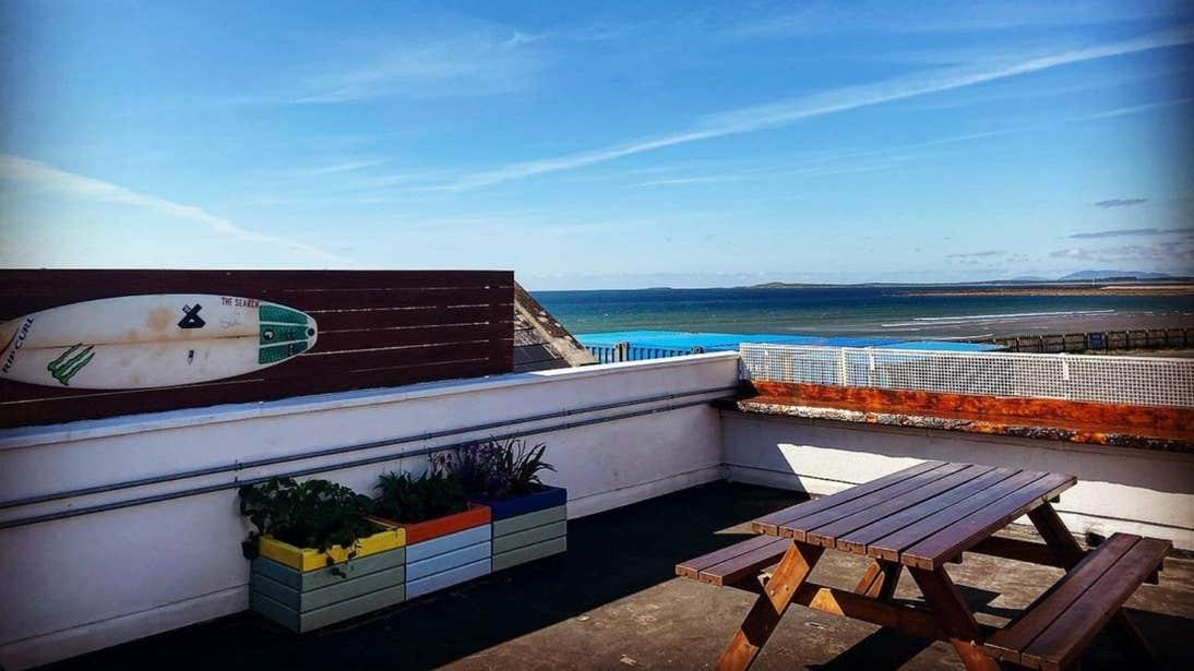 A sunny day on the patio of Stoked Restaurant, Strandhill, Sligo