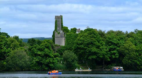 A glorious view of boats on the lake at Lough Key Forest in County Roscommon.