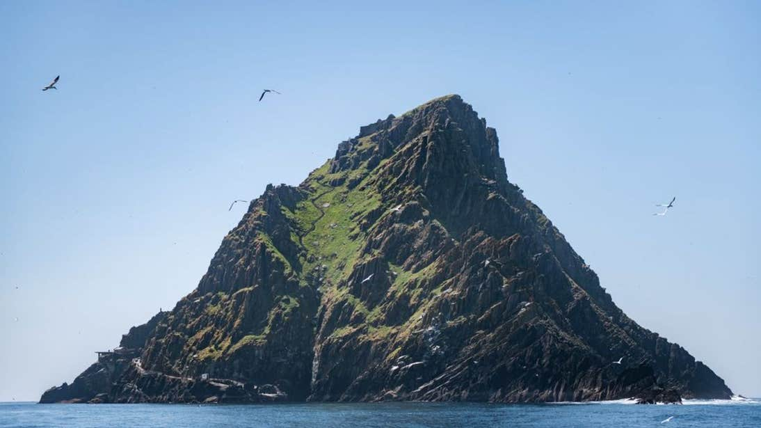 View of Skellig Michael, Kerry with seagulls overhead