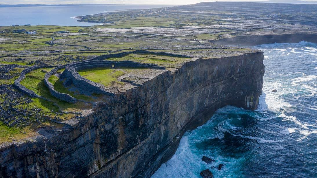Waves crashing into cliffs near Dun Aengus, Inishmore, Aran Islands, Galway