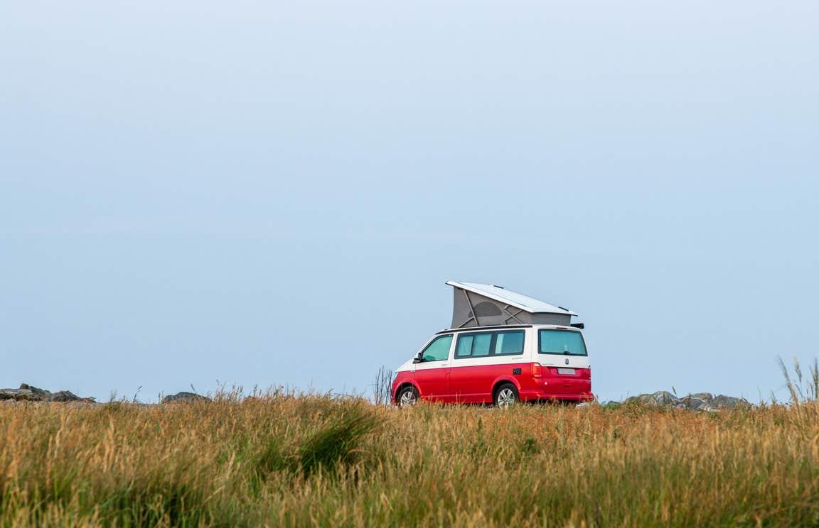 A campervan parked at Garretstown Beach, Cork