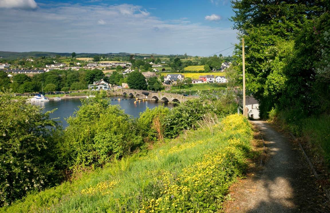 A walking trail beside a river on the Cavan Way, Cavan