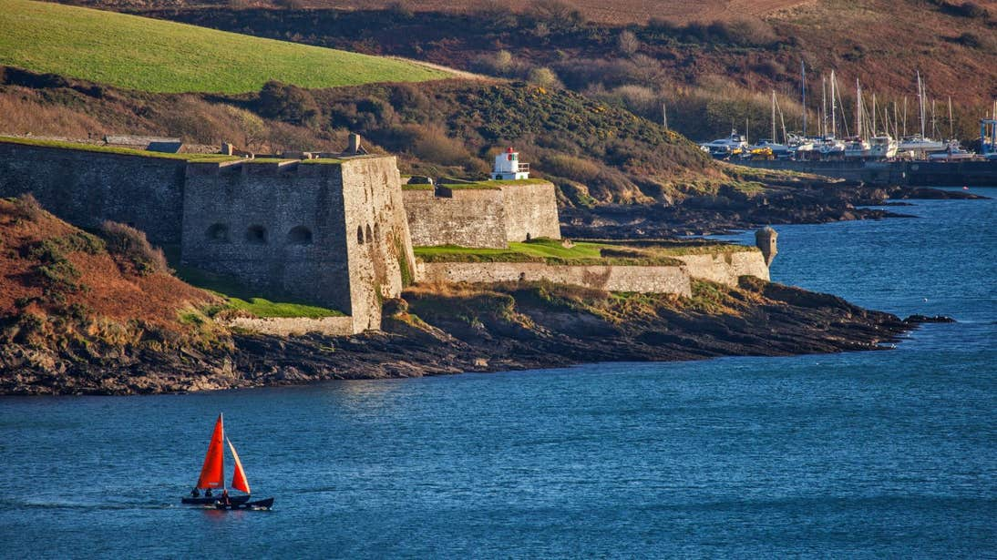A view of Charles Fort and Kinsale Harbour with boats in the background
