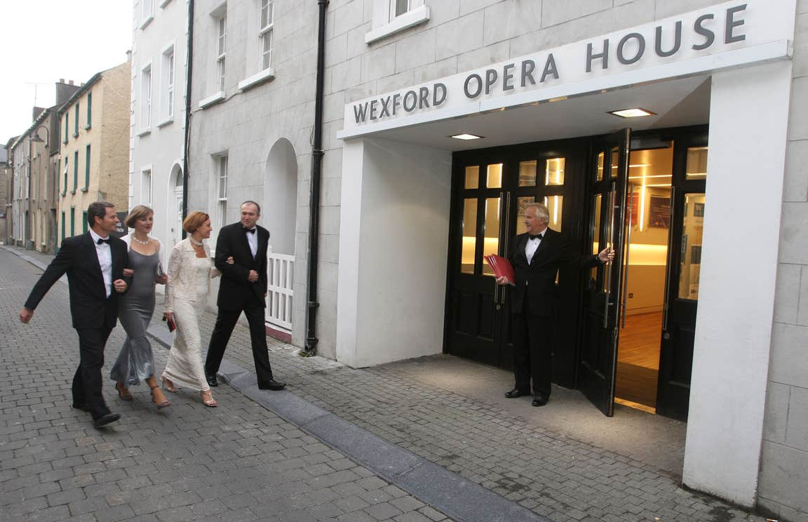 People walking into the National Opera House, Co. Wexford