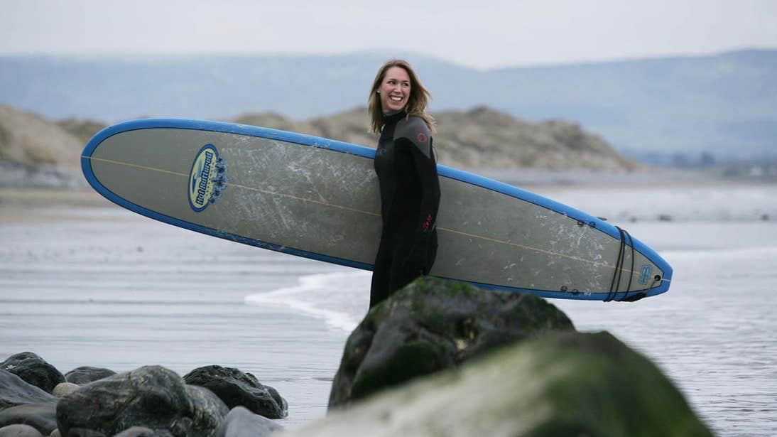 Surfing at Strandhill beach in County Sligo