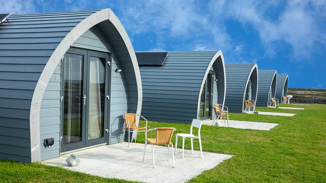A row of glamping pods on Aran Islands, Galway