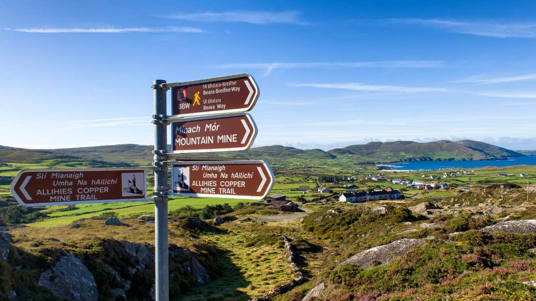 Signage in a remote setting for the Beara Way, Cork