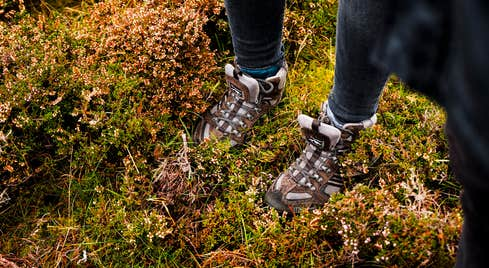 Brown boots in moss on a hiking trail