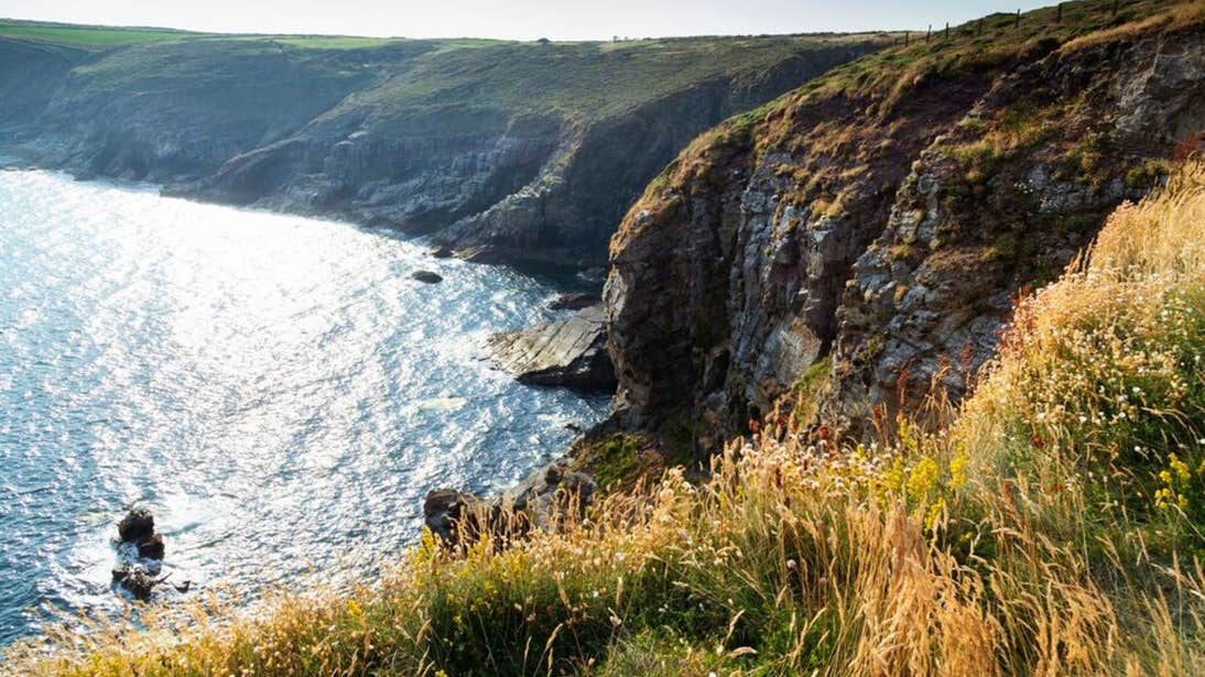 Ardmore Cliffs in County Waterford with the sea below